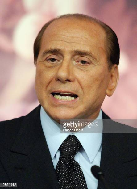 Italian Prime Minister Silvio Berlusconi speaks to the media during a press conference at Chigi Palace January 23 2004 in Rome According to an...