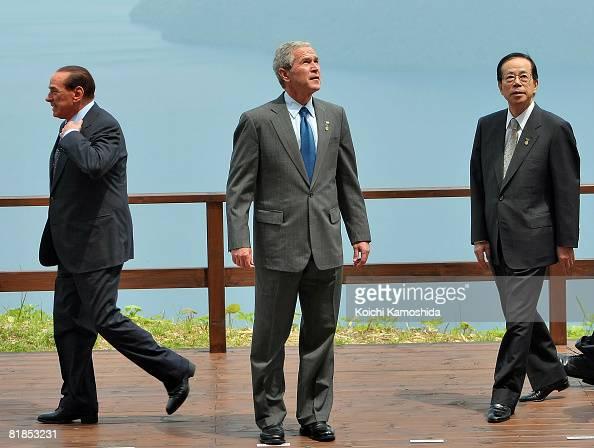 Italian Prime Minister Silvio Berlusconi US President George W Bush and Japanese Prime Minister Yasuo Fukuda attend the G8 leaders photo session at...
