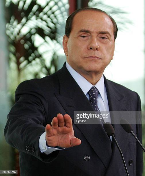 Italian Prime Ministerelect Silvio Berlusconi attends a joint press conference with Outgoing Russian President Vladimir Putin at Berlusconi's private...