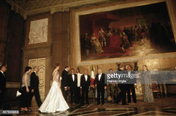 Italian Prime Minster Silvio Berlusconi and his Second wife Veronica Lario and President of the Italian Republic Oscar Luigi Scalfaro with his...