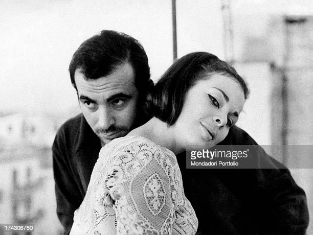 Italian Princess Maria Beatrice of Savoy leaning her head on the shoulder of Italian actor Maurizio Arena Ostia October 1967