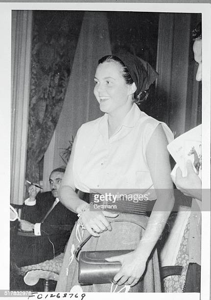 Italian Princess Maria Pia daughter of exKing Umberto is pictured at the Grande Bretacne Hotel in Athens after leaving the royal yacht Agamemnon on...