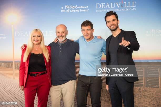 Italian producer Monika Bacardi British director Michael Radford Spanish actor Antonio Banderas and Italian producer Andrea Iervolino pose during the...
