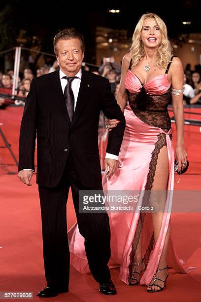 Italian producer Vittorio Cecchi Gori and Valeria Marini arrive at the opening ceremony of the 2008 Rome Film Festival