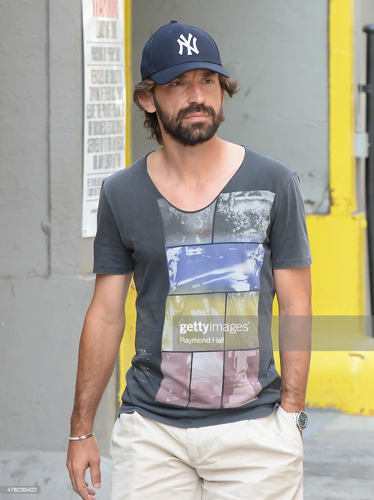 Italian professional football player <a gi-track='captionPersonalityLinkClicked' href=/galleries/search?phrase=Andrea+Pirlo&family=editorial&specificpeople=198835 ng-click='$event.stopPropagation()'>Andrea Pirlo</a> is seen walking in Soho on June 23, 2015 in New York City.