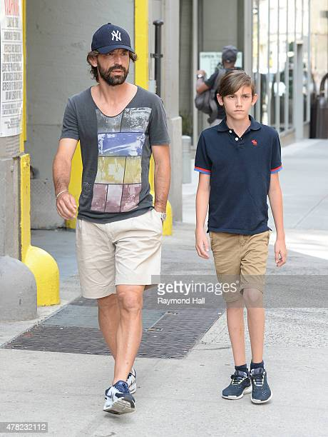 Italian professional football player Andrea Pirlo is seen walking in Soho on June 23 2015 in New York City
