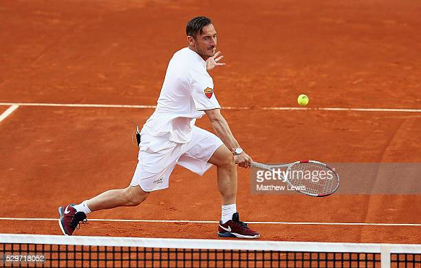 Italian professional footballer Francesco Totti plays in a Charity Tennis match during day two of The Internazionali BNL d'Italia 2016 on May 09 2016...