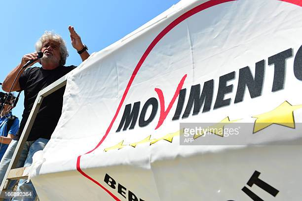 Italian protest party Five Star Movement leader Beppe Grillo speaks during a rally on April 18 2013 in Grado Grillo on Thursday slammed the rightleft...