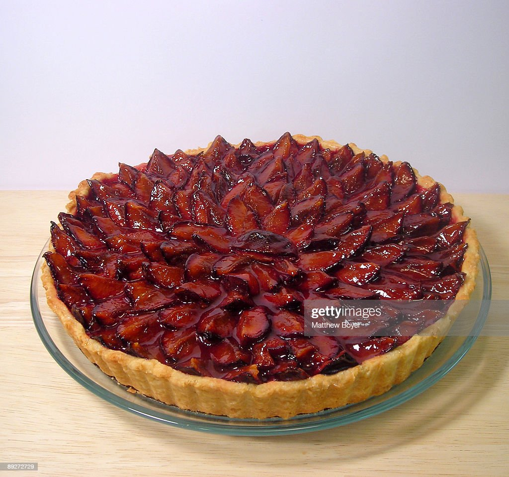 Italian Prune Plum Tart : Stock Photo