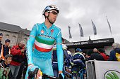 Italian racer Vincenzo Nibali of Astana Pro Team is pictured prior to the start of the 101st LiegeBastogneLiege oneday classic cycling race on April...