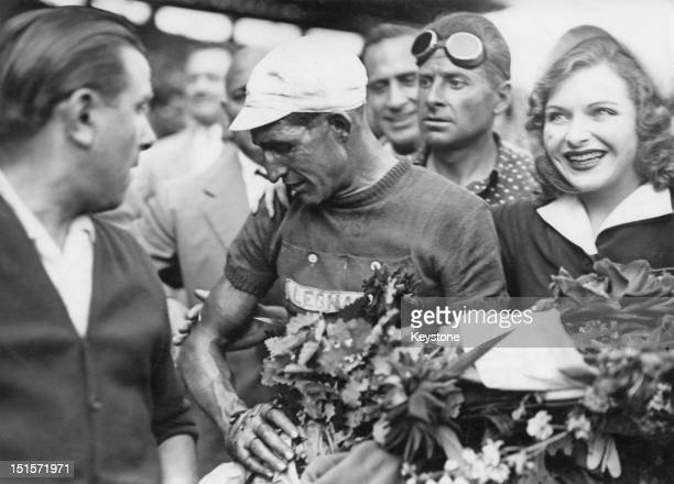 Italian racing cyclist Gino Bartali at the Parc des Princes Paris after winning the Tour de France for the second time 25th July 1948