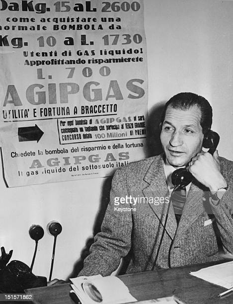 Italian racing cyclist Gino Bartali doing business over the phone from his office in Florence 19th April 1955 Bartali runs firms making or selling...