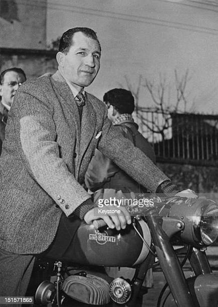 Italian racing cyclist Gino Bartali on a new Moto Gino Bartali motorcycle manufactured by his own firm Florence 19th January 1954 Bartali's firm...