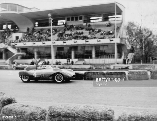 Italian racing driver Berardo Taraschi driving a Taraschi Fiat in the first Formula Junior race at the Autodromo Nazionale Monza race track near...