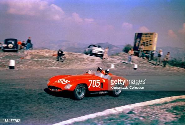 Italian racing driver Umberto Maglioli and his navigator Luciano Monteferrario on the Futa Pass in the TuscanEmilian Apennines in a Ferrari 118LM...