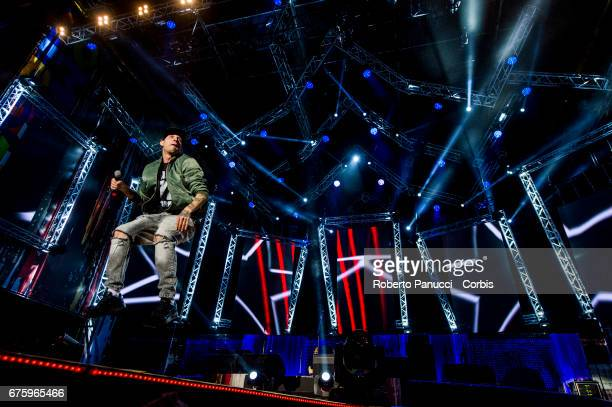 Italian rapper Clementino performs in concert at 1st Of May Concert on May 01 2017 in Rome Italy