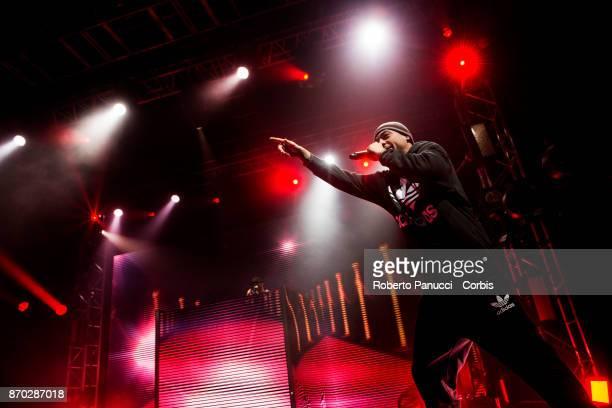 italian rapper Fabri Fibra perform on stage on November 3 2017 in Rome Italy