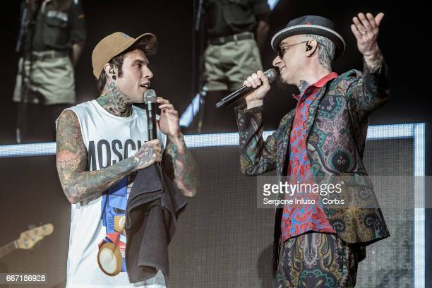 Italian rappers Federico Leonardo Lucia known as Fedez and Alessandro Aleotti known as JAx perform on stage on April 10 2017 in Milan Italy