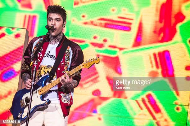 Italian rappers JAx and Fedez perform live the 'Comunisti col Rolex Tour 2017' at Palalottomatica Rome Italy on 19 March 2017