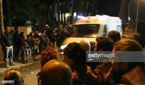 Italian Red Cross ambulance transports international music star Miriam Makeba at the end of her performance in Castelvolturno near Naples on November...