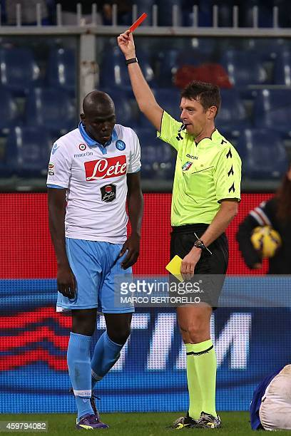 Italian referee Gianluca Rocchi gives red card to Napoli's French defender Kalidou Koulibaly during the Italian Serie A football match Sampdoria vs...