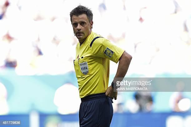 Italian referee Nicolas Rizzoli during a quarterfinal football match between Argentina and Belgium at the Mane Garrincha National Stadium in Brasilia...
