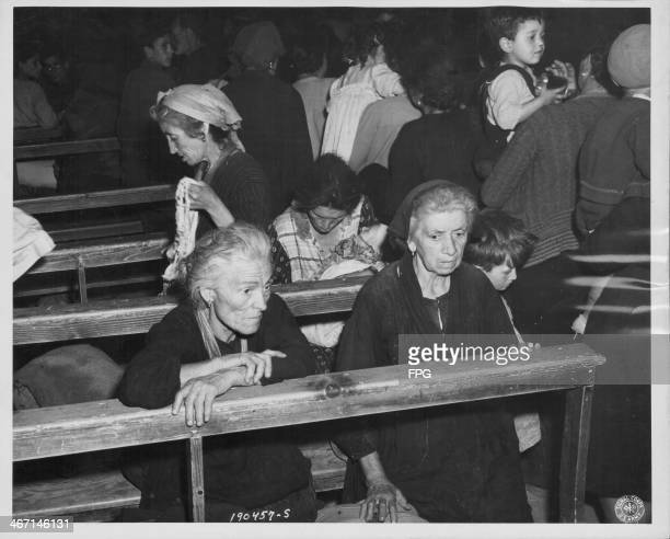 Italian refugees take shelter in the Church of St Marine de Corniano World War Two May 31st 1944