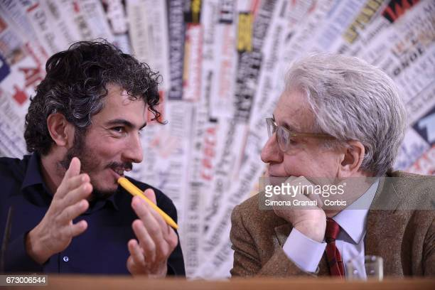 Italian reporter and documentary filmmaker Gabriele Del Grande and the President of the Human Rights Commission of the Senate Luigi Manconi during a...