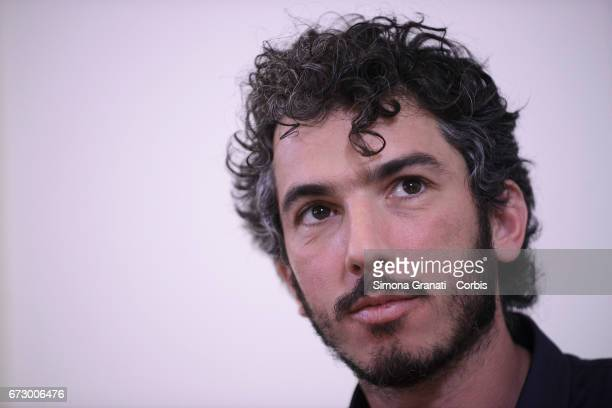 Italian reporter and documentary filmmaker Gabriele Del Grande during a press conference at the Foreign Press association headquarter in Rome after...