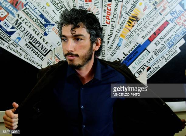 Italian reporter and documentary filmmaker specializing in migrant issues Gabriele Del Grande arrives for a press conference at the Foreign Press...