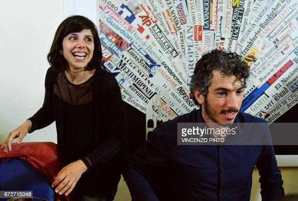 Italian reporter and documentary filmmaker specializing in migrant issues Gabriele Del Grande arrives with his wife Alexandra D'Onofrio for press...