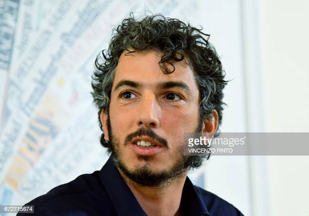 Italian reporter and documentary filmmaker specializing in migrant issues Gabriele Del Grande speaks during a press conference at the Foreign Press...