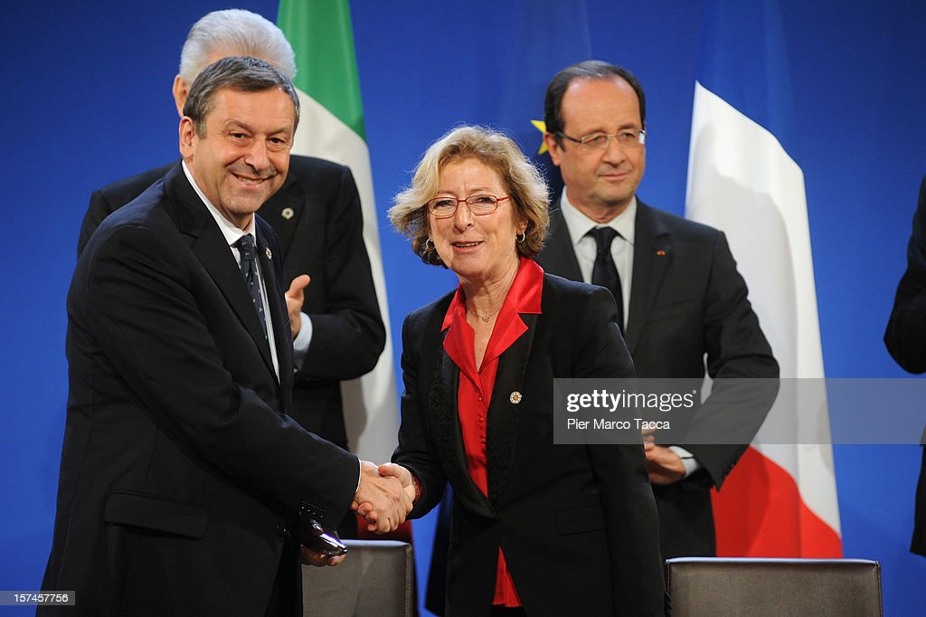 Italian Research Minister Francesco Profumo and French Research Minister Genevieve Fioraso attend the French Italian Summit on December 3, 2012 in Lyon, France. The two countries are meeting to sign an official accord for the construction of new high speed (TAV) rail line running from Lyon to Torino.