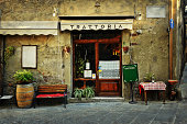 entrance of old italian restaurant in Tuscany
