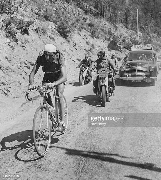 Italian rider Fausto Coppi competing in the Tour de France July 1951 Coppi finished the tour in 10th place overall Original publication Picture Post...