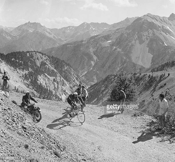 Italian rider Fausto Coppi near the snow line in the French Alps during the Tour de France July 1951 Coppi finished the tour in 10th place overall...
