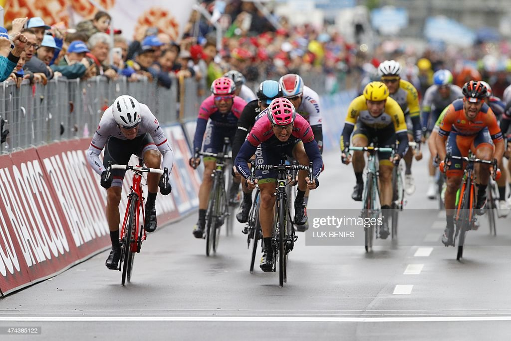 Italian rider Sacha Modolo sprints to win the 13th stage of the 98th Giro d'Italia Tour of Italy cycling race between Montecchio Maggiore and Jesolo...