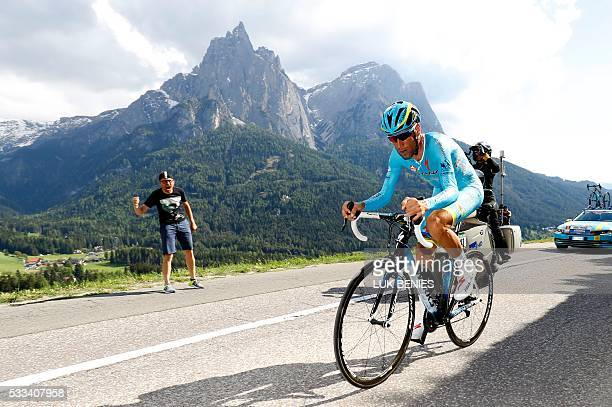 Italian rider Vincenzo Nibali of team Astana competes during the 15th stage of the 99th Giro d'Italia Tour of Italy an uphill individual time trial...