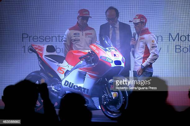 Italian riders Andrea Dovizioso and Andrea Iannone and journalist Guido Meda unveil the Ducati Desmosedici Moto GP 2015 Championship at Ducati...