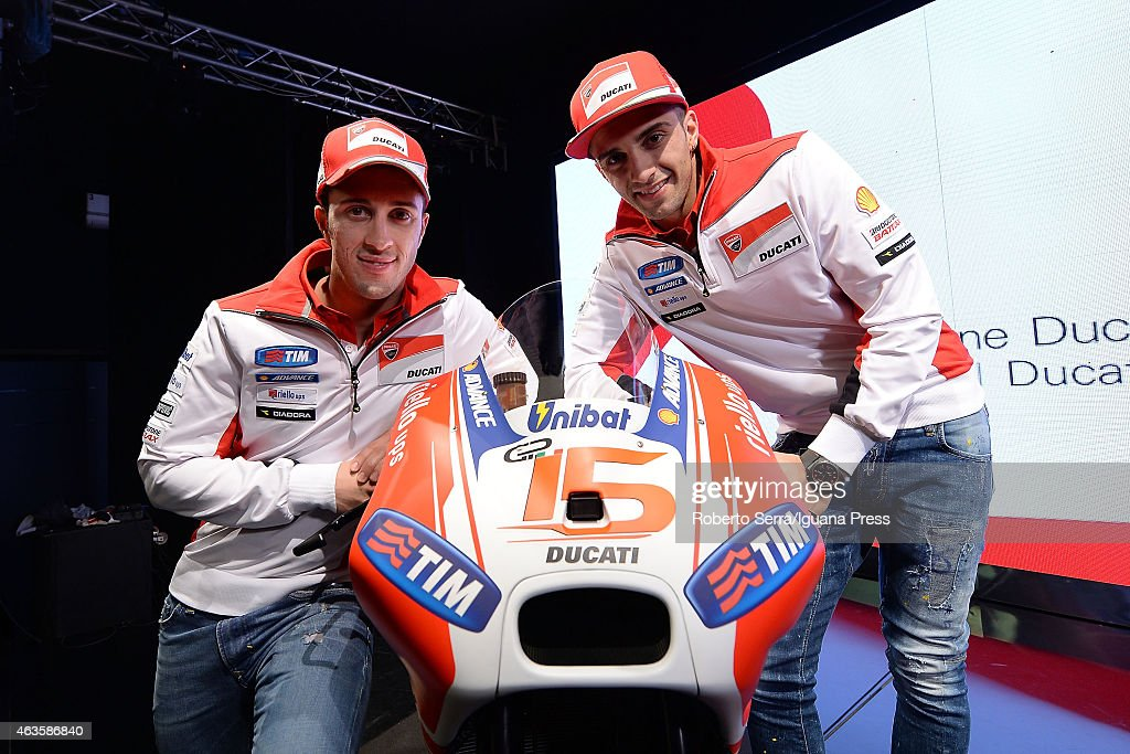 Italian riders <a gi-track='captionPersonalityLinkClicked' href=/galleries/search?phrase=Andrea+Dovizioso&family=editorial&specificpeople=559970 ng-click='$event.stopPropagation()'>Andrea Dovizioso</a> (L) and <a gi-track='captionPersonalityLinkClicked' href=/galleries/search?phrase=Andrea+Iannone&family=editorial&specificpeople=5314381 ng-click='$event.stopPropagation()'>Andrea Iannone</a> (R) unveil the Ducati Desmosedici Moto GP 2015 Championship at Ducati Factory on February 16, 2015 in Bologna, Italy.