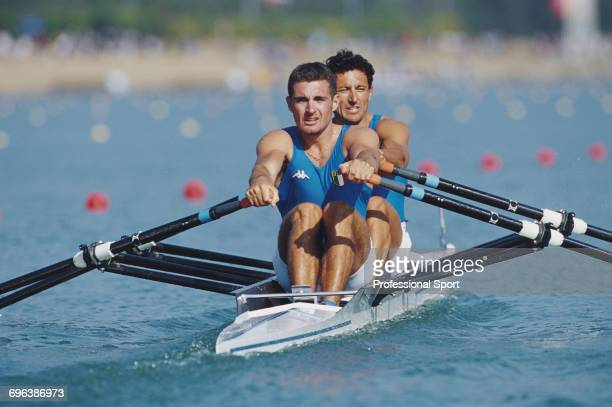 Italian rowers Giovanni Calabrese and Nicola Sartori pictured in their boat in action during competition to finish in third place to win the bronze...