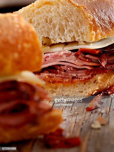 Italian Sandwich with Salami,Genoa, Prosciutto, Provolone and Red Peppers