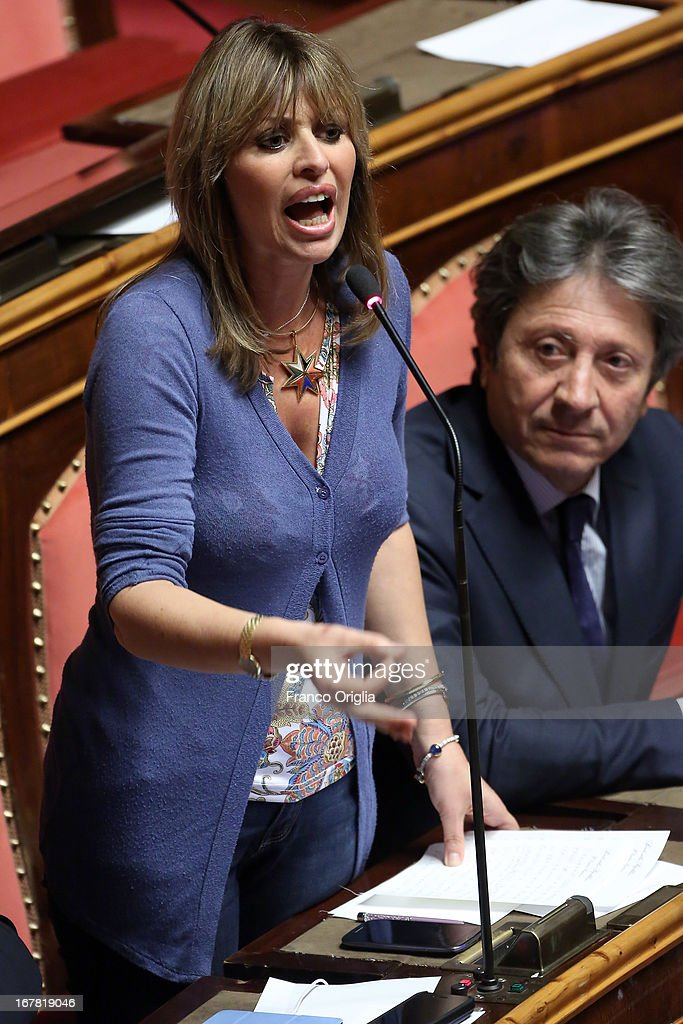 Italian Senator <a gi-track='captionPersonalityLinkClicked' href=/galleries/search?phrase=Alessandra+Mussolini&family=editorial&specificpeople=243183 ng-click='$event.stopPropagation()'>Alessandra Mussolini</a> attends the confidence vote at the Senate on April 30, 2013 in Rome, Italy. The new coalition government was formed through extensive cooperation agreements between the right and left coalitions after a two-month long post-election deadlock.