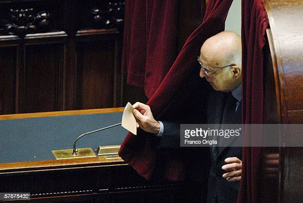 Italian Senator Giorgio Napolitano votes during the election of the new President of the Republic at the Italian Parliament May 10 2006 in Rome Italy...
