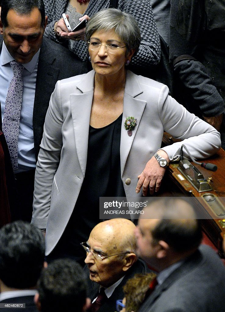 Italian senator of the Democratic Party (PD) <a gi-track='captionPersonalityLinkClicked' href=/galleries/search?phrase=Anna+Finocchiaro&family=editorial&specificpeople=4172756 ng-click='$event.stopPropagation()'>Anna Finocchiaro</a> (C) stand next to Italy's former President <a gi-track='captionPersonalityLinkClicked' href=/galleries/search?phrase=Giorgio+Napolitano&family=editorial&specificpeople=568986 ng-click='$event.stopPropagation()'>Giorgio Napolitano</a> (down) in the Italian Parliament in Rome on January 29, 2015, during a vote to select a new president, after former President <a gi-track='captionPersonalityLinkClicked' href=/galleries/search?phrase=Giorgio+Napolitano&family=editorial&specificpeople=568986 ng-click='$event.stopPropagation()'>Giorgio Napolitano</a> resigned on January 14. Italy's parliament eets on January 29 to begin selecting a new president with the race apparently wide open and much at stake for Prime Minister Matteo Renzi, who is keen on having a friendly figure installed as head of state.