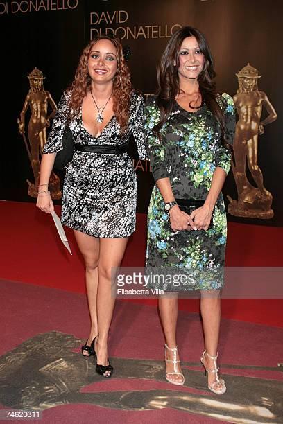 Italian showgirls Giada Di Miceli and Sara Varone attend the David di Donatello 2007 Italian Awards at the Gran Teatro di Tor di Quinto on June 14...