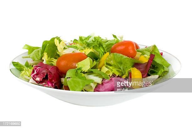 イタリア料理、サイドサラダ、低角度のドレッシングはありません。