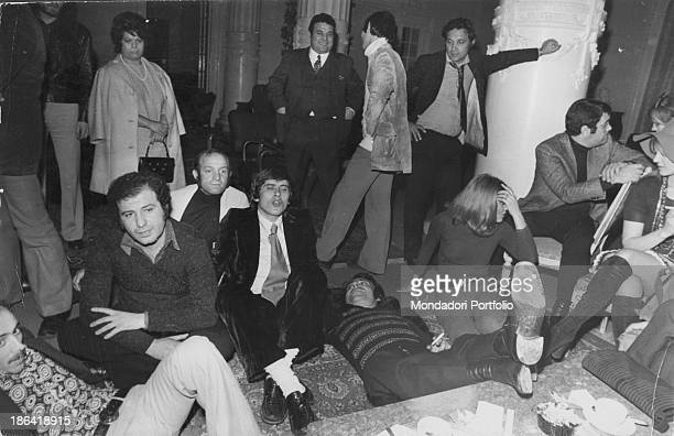 Italian singer actor and TV presenter Gianni Morandi and other singers protesting during the 22nd Sanremo Music Festival Sanremo February 1972