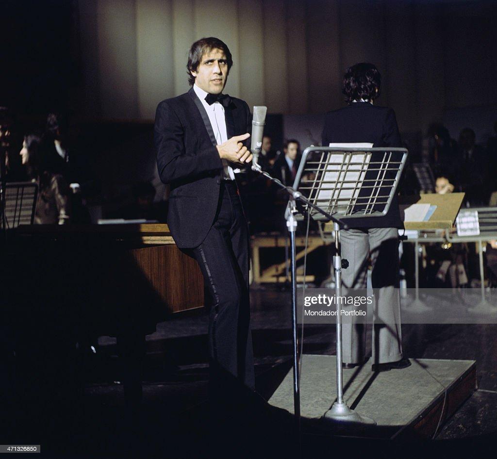 Italian singer Adriano Celentano performing in a TV show 1972