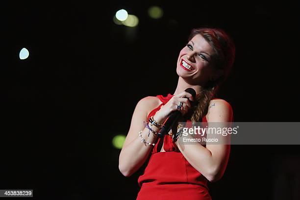 Italian singer Alessandra Amoroso performs at Palalottomatica on December 5 2013 in Rome Italy